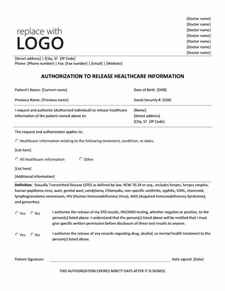 Authorization To Release Healthcare Information Form