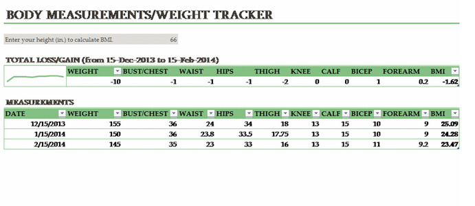 Body Measurement Weight Tracking Template
