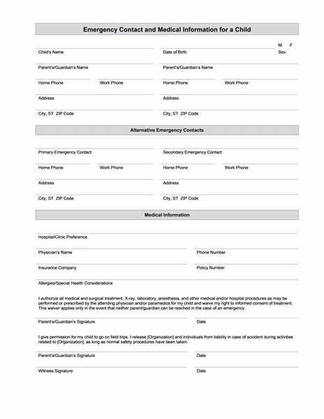 Childs Emergency Contact And Medical Information Form