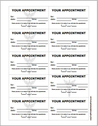 Patient Appointment Cards Template Printable Medical Forms
