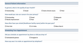 Medical practice survey form
