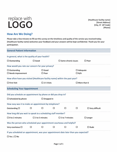 Medical practice survey form printable medical forms for Office design questionnaire