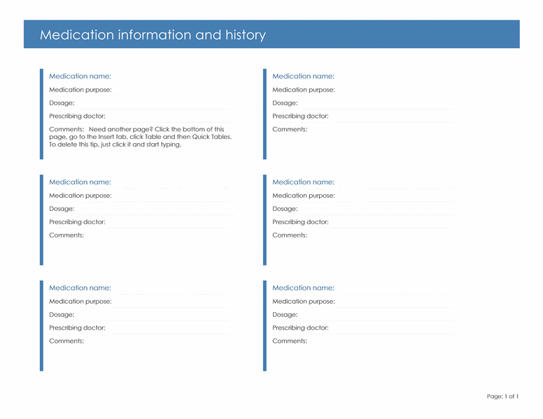 Medication Information and History Form