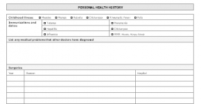 Patient health history questionnaire form