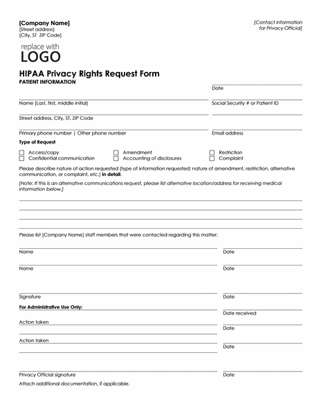 Patient health information request form