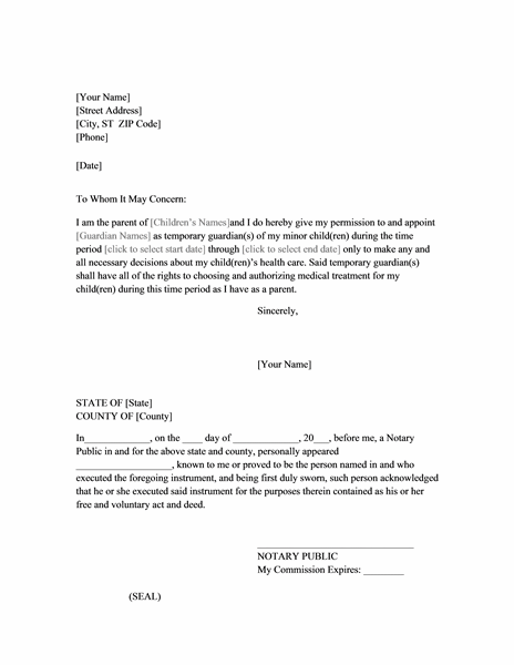 Power of attorney letter for child care printable for Temporary power of attorney template