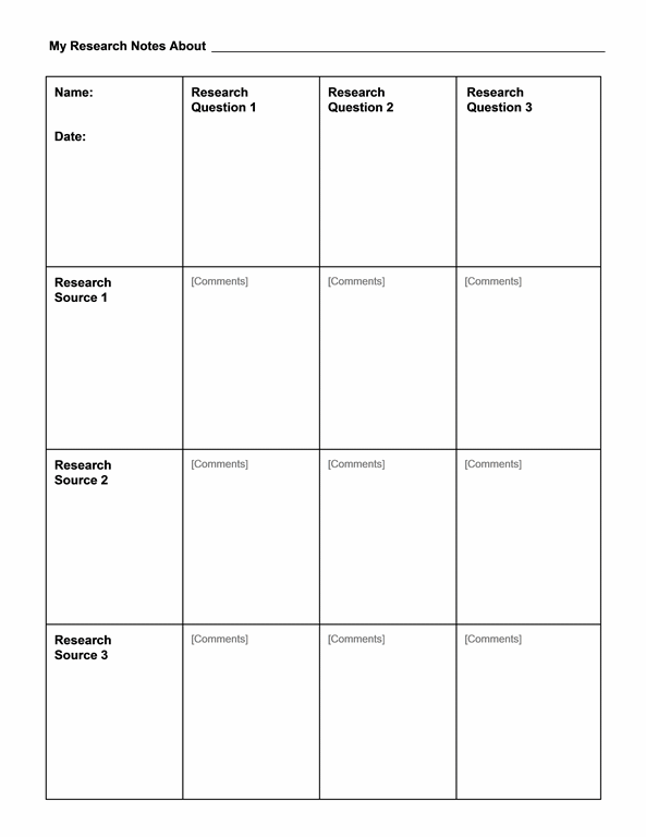 Research Notes Chart Form Template