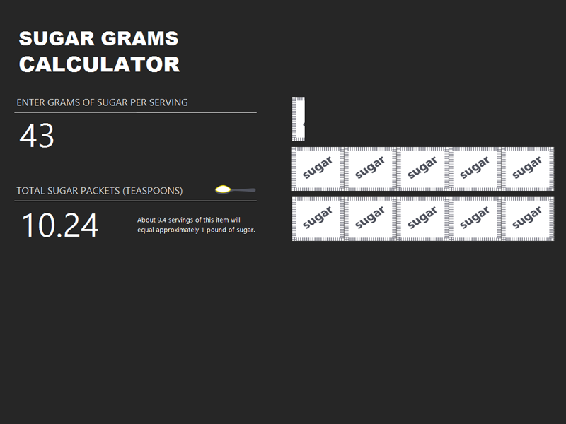 Suger gram calculater