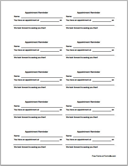 Patient Appointment Cards Template | Printable Medical Forms