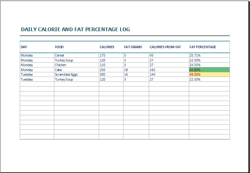 Daily Food Calorie Log Template