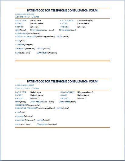 Patient-Doctor Telephone Consultation Record Form