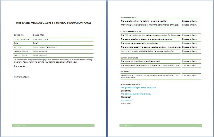 Web Based Medical Course Training Evaluation Form | Printable