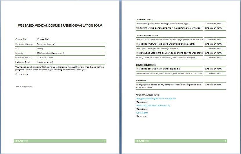 Web Based Medical Course Training Evaluation Form