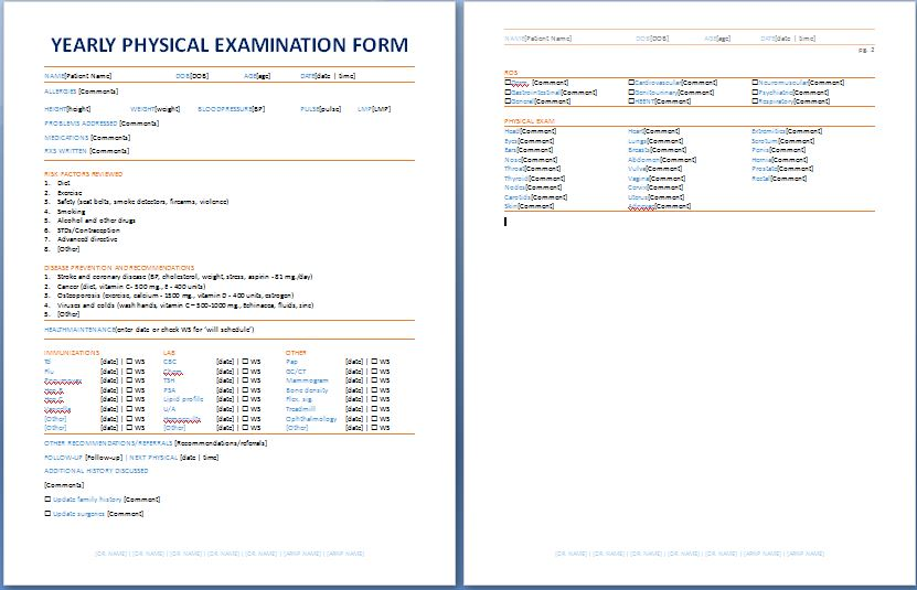Physical Examination Template Form  CityEsporaCo