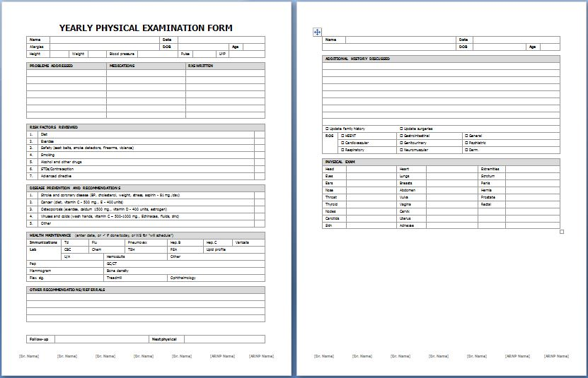 Yearly Physical Examination Form  Printable Medical Forms Letters