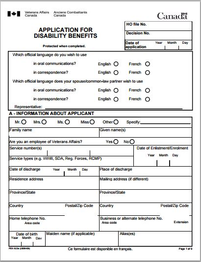 Sample Disability Application Forms Template  Printable Medical