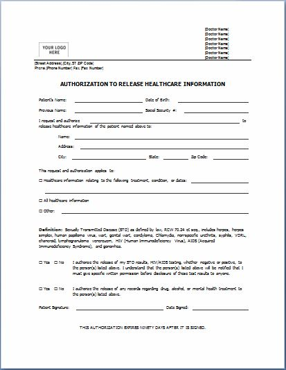 Medical Release Of Information Form Generic