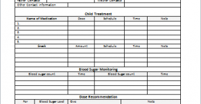 Diabetes management sheet