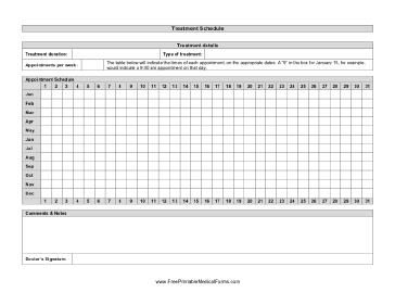 Sample Patient Treatment Schedule Form Template | Printable Medical on accident report template, patient medical history form template, medical procedure form template, dental emergency form template,