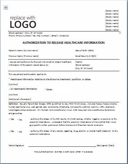 Authorization To Release Healthcare Information Form  Information Form Template Word