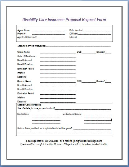 Disability Care Insurance Proposal Request Form