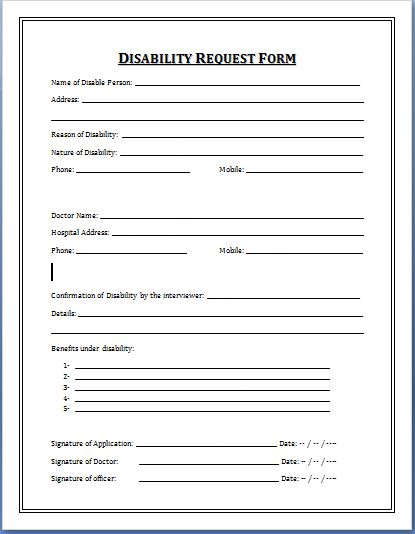 Sample Disability Application Forms Template | Printable Medical