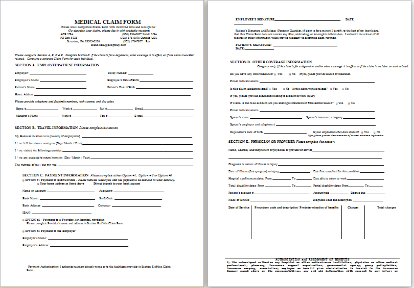 Medical Claim Form | Sample Disability Claim Form Printable Medical Forms Letters Sheets