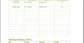 Pet Health Record Form