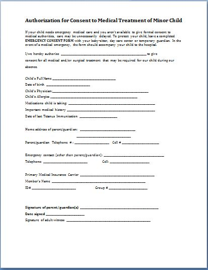 consent for medical treatment of a minor form sample child consent forms templates printable 19156
