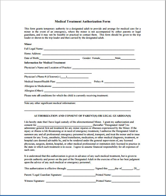 Sample Child Consent Forms Templates | Printable Medical Forms
