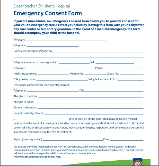 Childu0027s Emergency Care Consent Form
