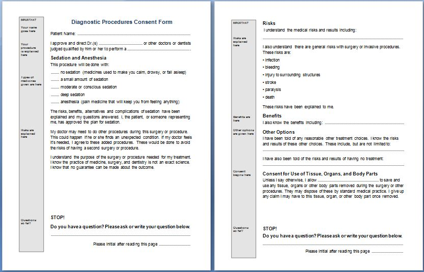 Diagnostic Procedures Consent Form