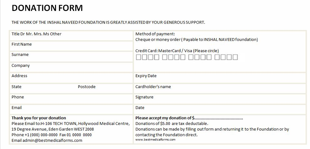Sample Free Donation Form | Printable Medical Forms, Letters & Sheets