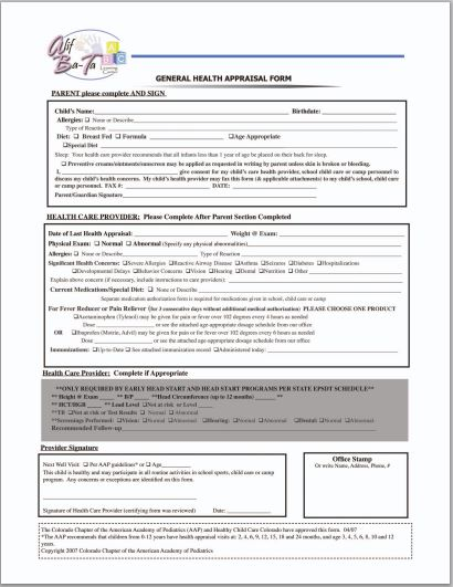 General Health Appraisal Form