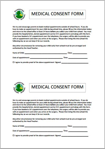 Medical consent form for schools