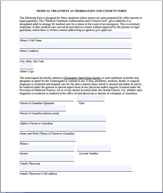 Sample Medical Consent Form  Printable Medical Forms Letters