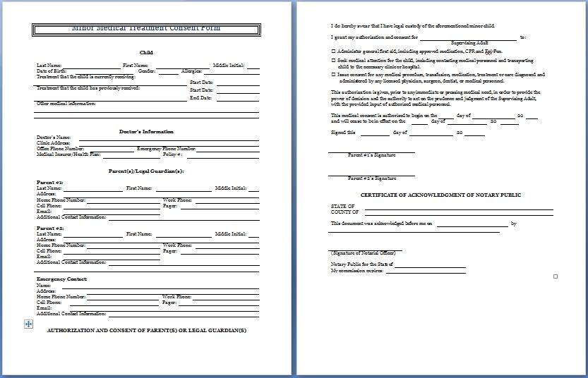 Minor Medical Treatment Consent Form  Blank Consent Form