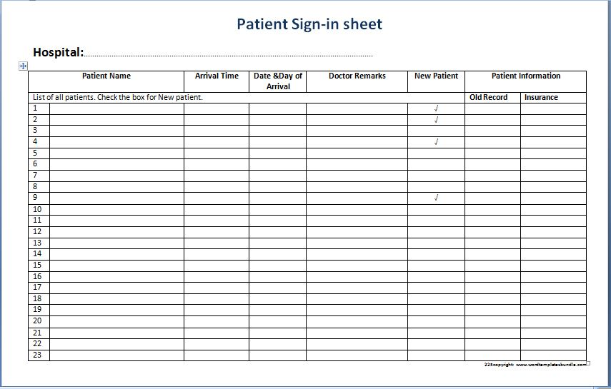Patient sign in sheet templates printable medical forms for Calendar printing assistant templates