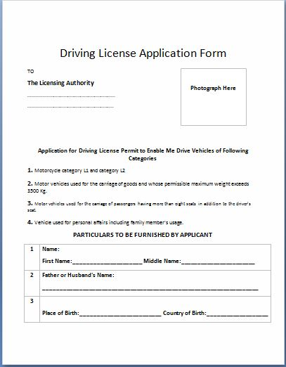 Driving License Application Form