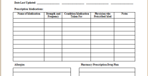 Medication prescription form template