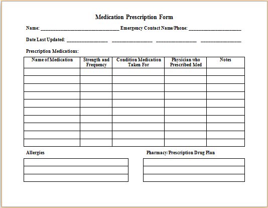ms word medication prescription form template printable medical forms letters sheets. Black Bedroom Furniture Sets. Home Design Ideas