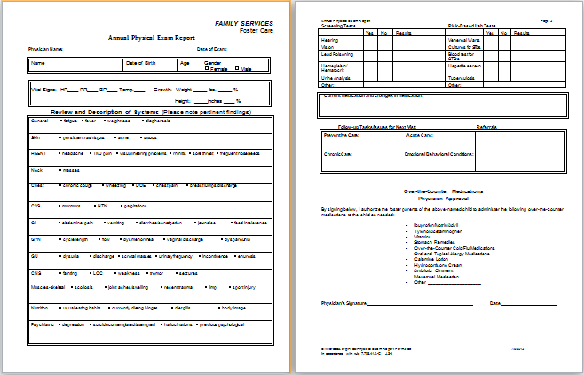 Physical Examination Report Form – Physical Exam Form