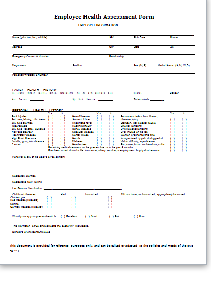 Employee Health Assessment Form Template