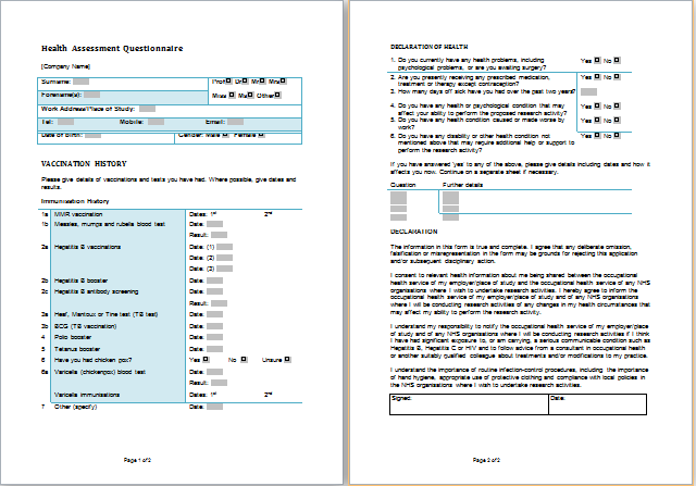 Ms word health assessment forms templates printable for Health assessment questionnaire template