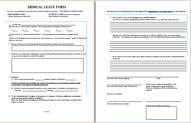 MS Word Job Leave Medical Form Template | Printable Medical Forms ...