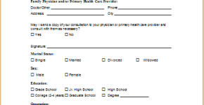 medical history and screening form template