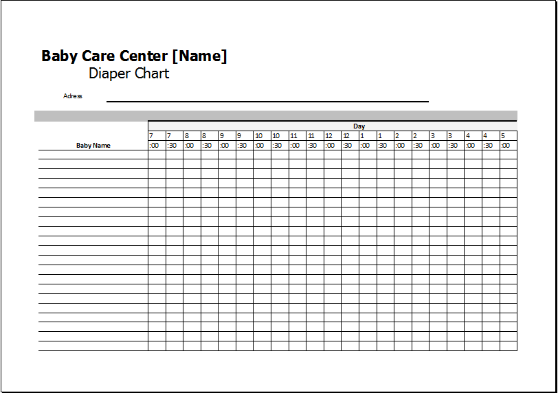 Care Center Diaper Chart Ms Excel Printable Medical