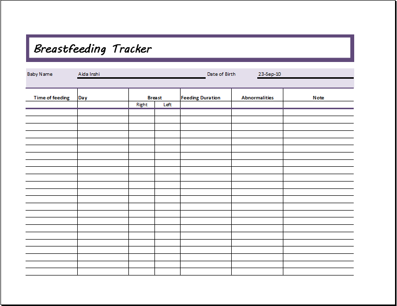 Breastfeeding Tracker Ms Excel Editable Printable Template
