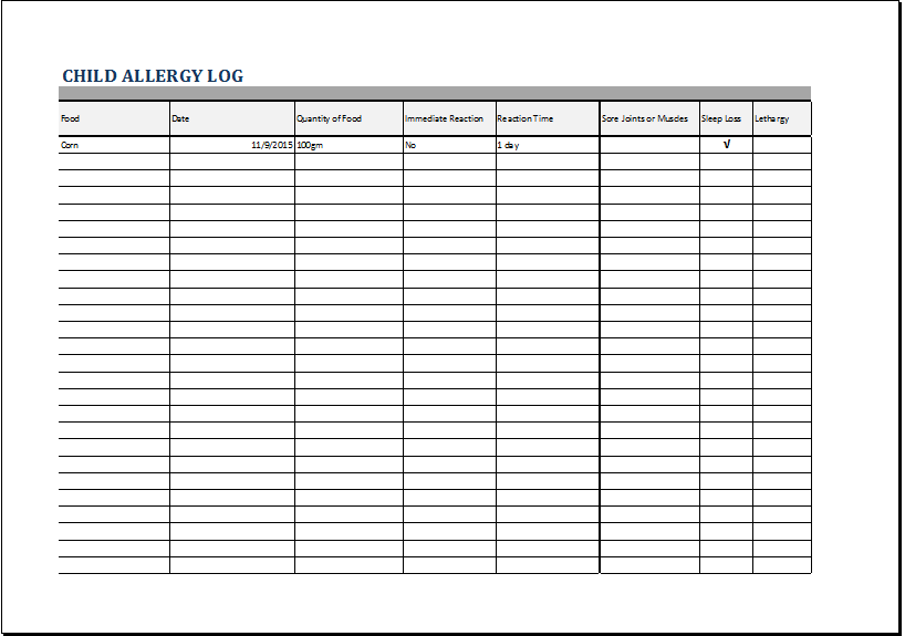 child allergy log template