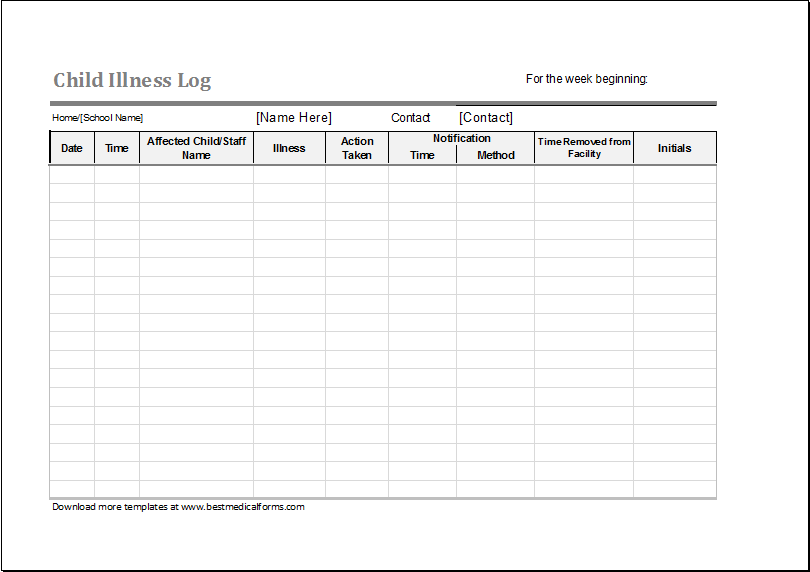 Child Illness Log MS Excel Customizable Template